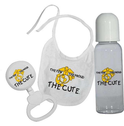 The Few, The Proud, The Cute (USMC) Bib, Bottle, Rattle Gift Set