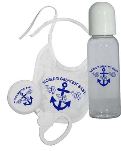 World's Greatest Baby (Navy) Bib, Bottle, Rattle Gift Set w/Ribb