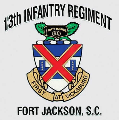 13th INF. REG. Ft. Jackson Decal