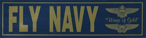 "Fly Navy 11"" Metallic Bumper Sticker"