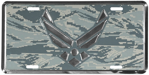 Air Force Wing Logo on ABU Camo License Plate
