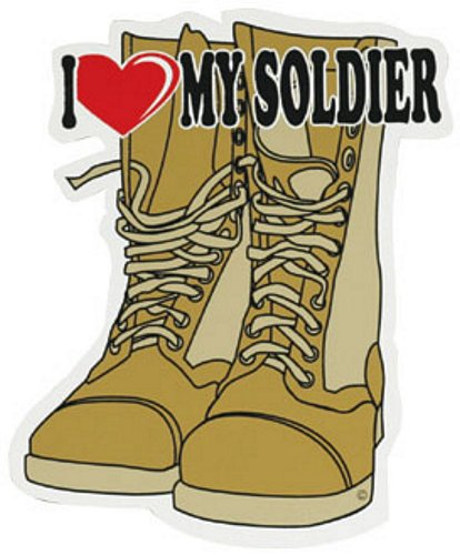 I Love My Soldier (Desert) Combat Boots Auto Magnet