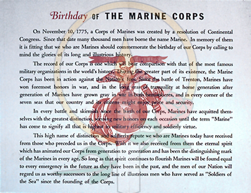 Birthday of theMarine Corps