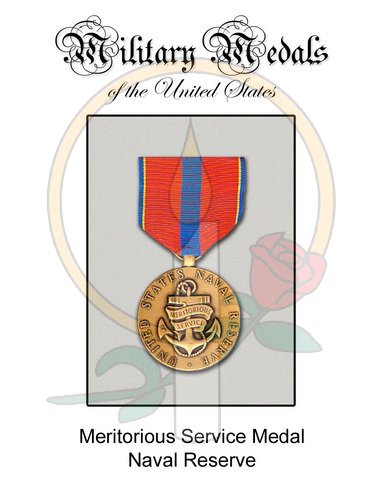 Medal Card, Meritorious Service Navy Reserve