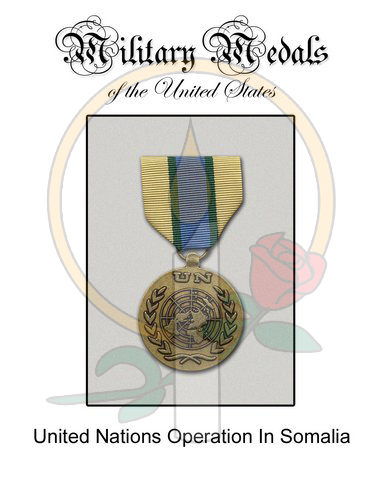 Medal Card, UN Operation in Somalia