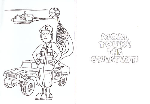 CARD, Army Mom Coloring Card