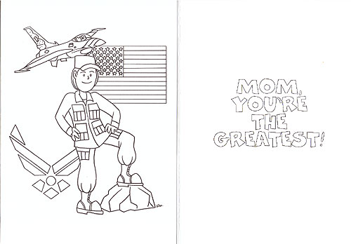 CARD, Air Force Mom Coloring Card