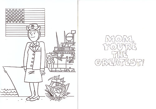 CARD, Navy Mom Coloring Card