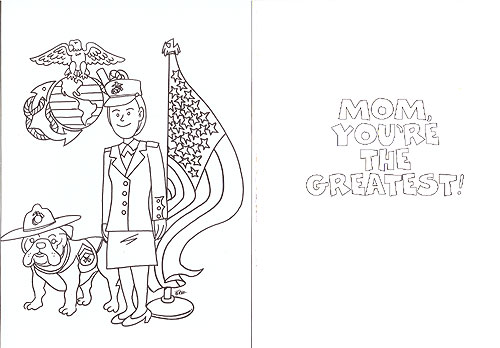 CARD, Marine Mom Coloring Card