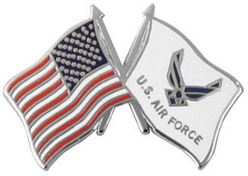 USA / New Air Force Emblem Crossed Flag Pin