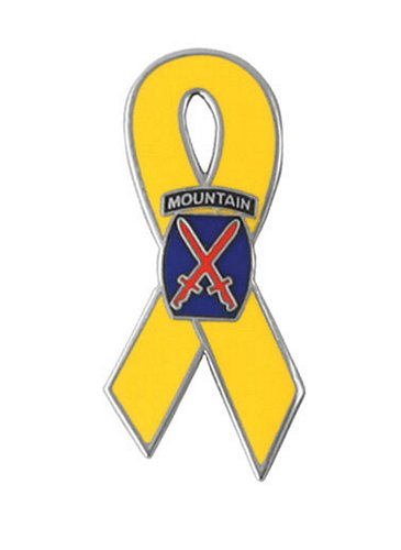 10th Mountain Division Yellow Ribbon Lapel Pin