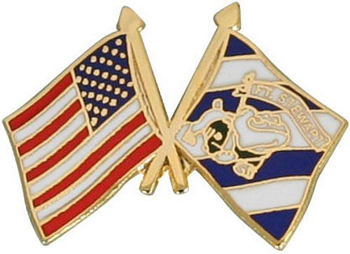 USA/3rd Infantry with Bulldog Crossed Flag Lapel Pin