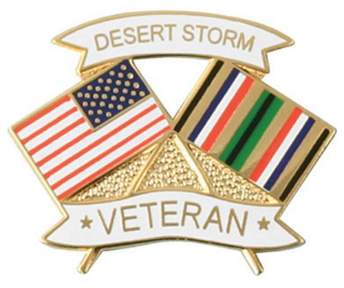 USA / Desert Storm Crossed Flag Lapel Pin