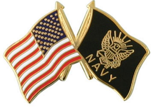 USA / Navy Crossed Flag Lapel Pin