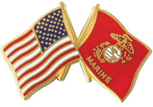 USA / Marine Corps Crossed Flag Lapel Pin