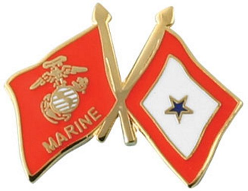 Marine Corps/Blue Star Crossed Flag Lapel Pin