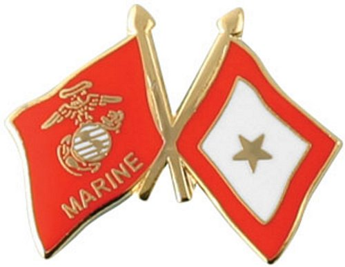 Marine Corps/Gold Star Crossed Flag Lapel Pin