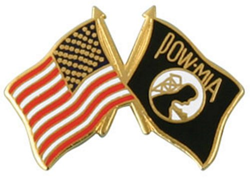 USA / POW/MIA Crossed Flag Lapel Pin