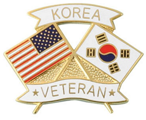 USA / Korea Crossed Flag Lapel Pin