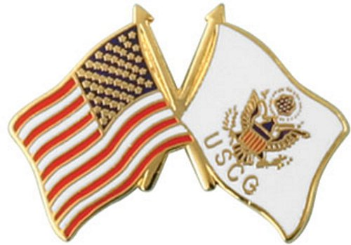 USA / USCG Crossed Flag Lapel Pin