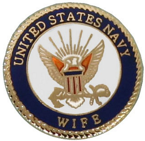 U.S. Navy Wife with Crest Lapel Pin
