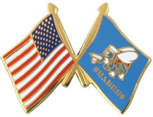 USA/Seabee Crossed Flag Pin