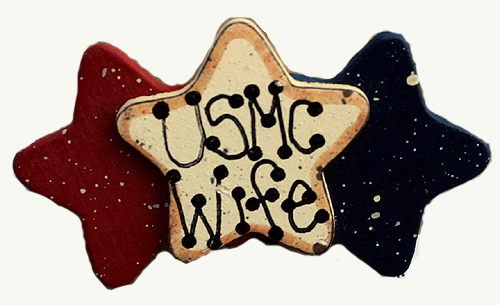 Large Triple Star Lapel USMC Wife