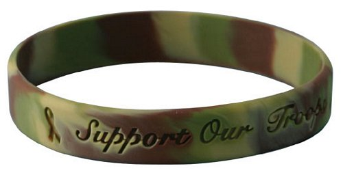 Support Our Troops Desert Camo Silicone Bracelet