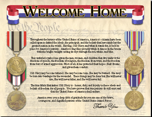 -Welcome Home Certificate
