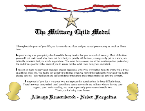 Military Child Medal Certificate MilitaryWives Online Store