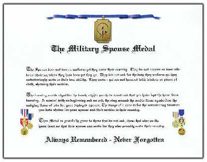 Military Spouse Medal Certificate