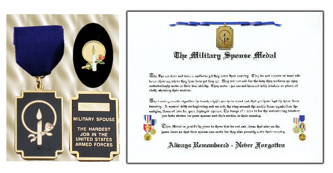 Military Spouse Medal w/ LAPEL PIN