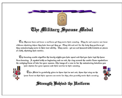 Military Spouse Medal Certificate CANADIAN